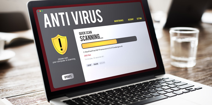 Image of a laptop running an antivirus software